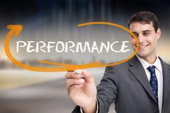 Businessman writing the word performance - stock illustration
