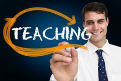 Businessman writing the word teaching - stock illustration