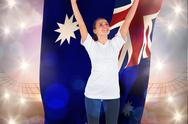 Stock Illustration of Composite image of excited football fan in white cheering holding australia flag