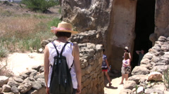 Entrance to a tomb in Paphos Stock Footage