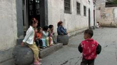 Children in Chinese village Stock Footage