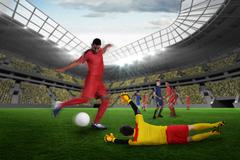 Stock Illustration of Composite image of football match in progress