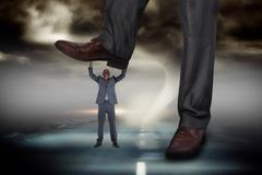 Composite image of businessman stepping on tiny businessman Stock Illustration