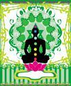 Yoga lotus pose. padmasana with chakra points. Stock Illustration