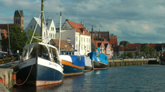 Wismar harbour, Ships and city skyline Stock Footage