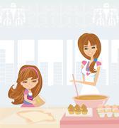 Stock Illustration of family baking cakes