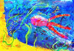 "Child's abstract artwork - ""underwater world"" Stock Illustration"