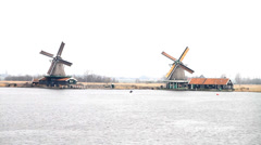 Windmill at zaanse schans Stock Footage