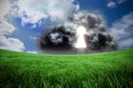 Stock Illustration of Composite image of key hole in cloud