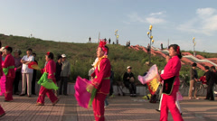 Chinese aunts dancing on the square Stock Footage