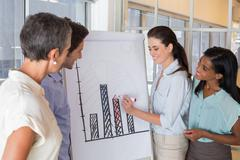 Stock Photo of Business people working on graph for presentation