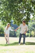 Carefree couple standing in the park holding hands - stock photo
