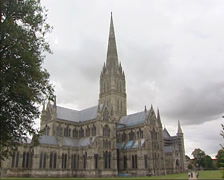 Salisbury Cathedral - north facade + pan cathedral close Stock Footage