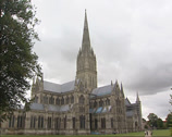 Stock Video Footage of Salisbury Cathedral - north facade + pan cathedral close