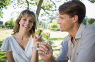 Stock Photo of Cute smiling couple sitting outside toasting with champagne