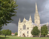 Stock Video Footage of Dark sky above Salisbury Cathedral - west front