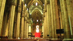Central Interior Of The Dome In Milan Stock Footage