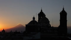 Cathedral Puebla sunset with volcano Stock Footage