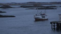 Traditional fishing vessel/boat in Lofoten Islands, Norway Stock Footage