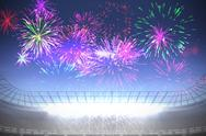Stock Illustration of Fireworks exploding over football stadium