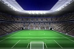 Large football stadium with lights Stock Illustration