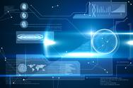 Stock Illustration of Blue technology interface with glow