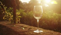 Filling Glass with Wine at Sunset Time Outdoors Stock Footage