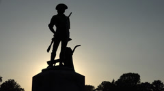 P03668 Minuteman National Historic Site Statue at Sunset Stock Footage