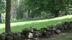 P03674 Rock Wall at Minuteman National Historic Site Stock Footage