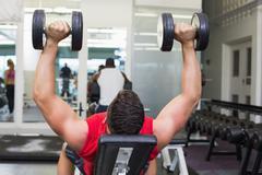 Stock Photo of Bodybuilder lying on bench lifting dumbbells