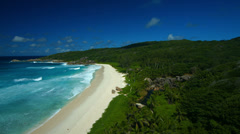 Long sandy beach of tropical island Stock Footage