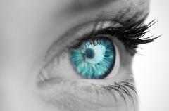 Blue eye on grey face Stock Photos