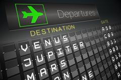 Departures board for space travel Stock Illustration