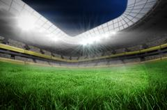 Football pitch in large stadium Piirros