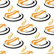 Steaming hotdogs seamless pattern Stock Illustration