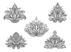 Set of persian paisley flowers Stock Illustration