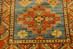 details of intricate blue patterns in turkish carpets - stock photo