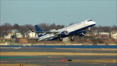 JetBlue runway takeoff Stock Footage