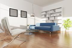 modern living room - stock illustration