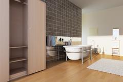modern bathroom - stock illustration