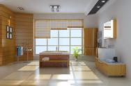Stock Illustration of 3d render interior of modern bathroom