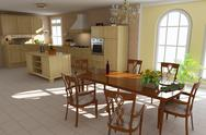 Stock Illustration of 3d render classic dining room and kitchen