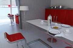 modern dining room.3d render - stock illustration
