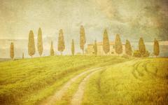 Vintage tuscan landscape Stock Photos