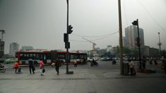 People walking in chengdu china Stock Footage