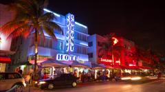 Miami Ocean Drive night timelapse Stock Footage