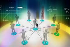 3d image of virtual men on global connection Stock Illustration