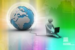 3d man sit near the globe with laptop Stock Illustration