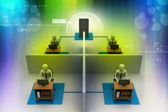 Network with laptop Stock Illustration
