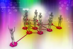 A group of peoples generate a network Stock Illustration